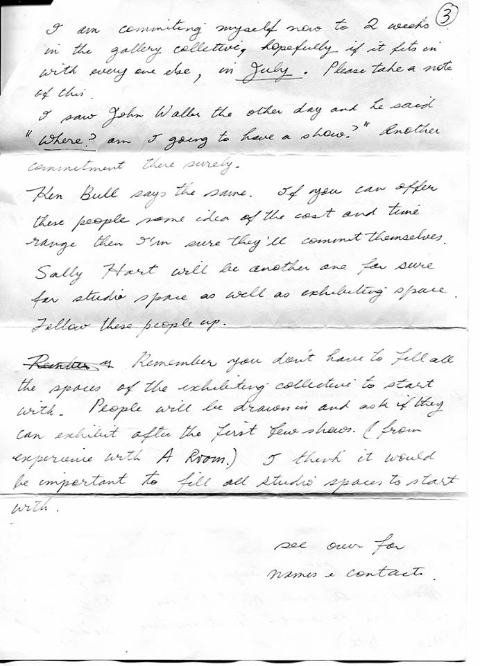 Letter from A Room artist Di Heenan to Paul Andrew, 1984 - artist-run models and methods