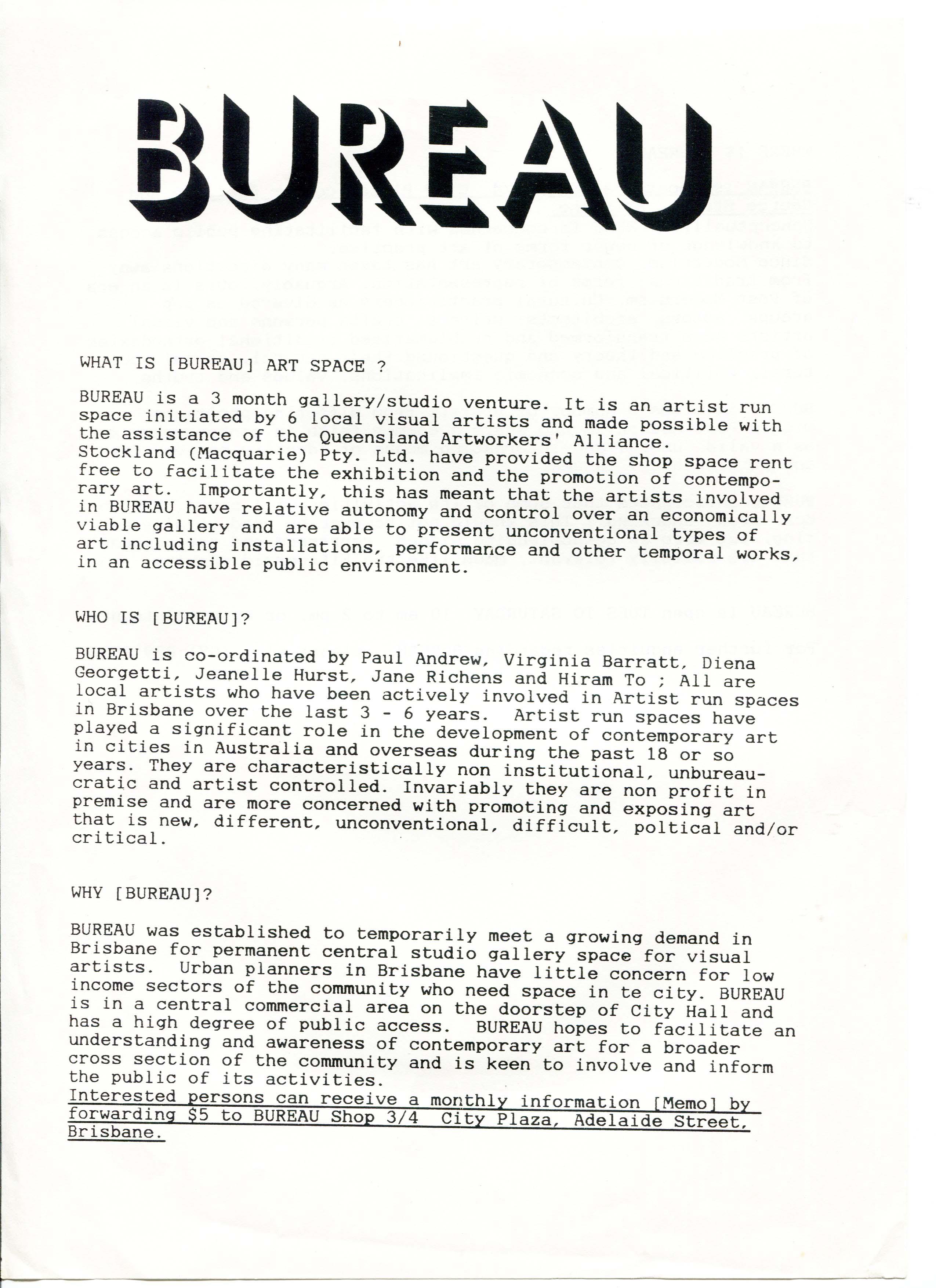 Bureau, Overview Page 1