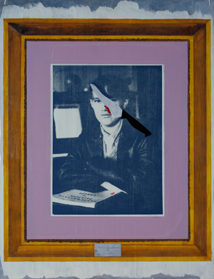 Barbara Campbell, … Cutting off your nose to spite your face, 1984, synthetic polymer paint and screenprint on aluminium plate, 76.1 x 56cm, University of Queensland collection, purchased 1999; image courtesy the artist; photo: Carl Warner