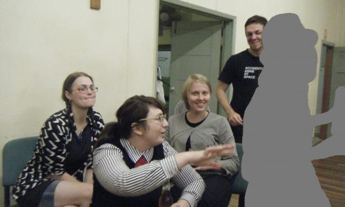 ARTIST RUN PROFILE PIC 2 : Portrait of directors, from left:  Artists Erika Scott, Louise Bennett, Elizabeth Willing, Stephen Russell. Photo was taken in a community hall at inaugural dart competition hosted by Boxcopy ARI, 2010