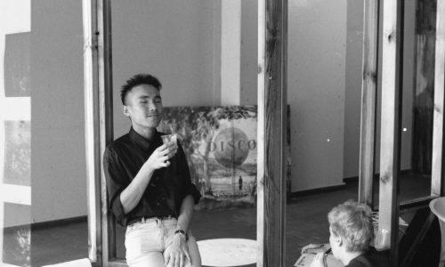 Artist Hiram To, Bureau, Brisbane, 1989 ( with artist Diena Georgetti seated)