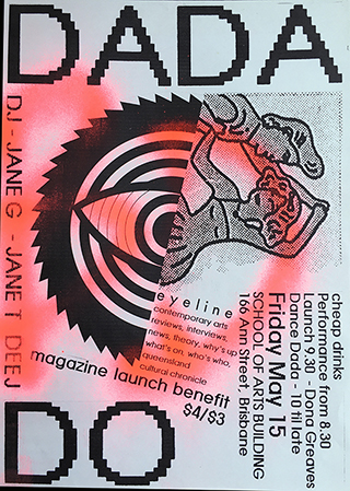 Eyeline Launch poster, DADA DO, 1987
