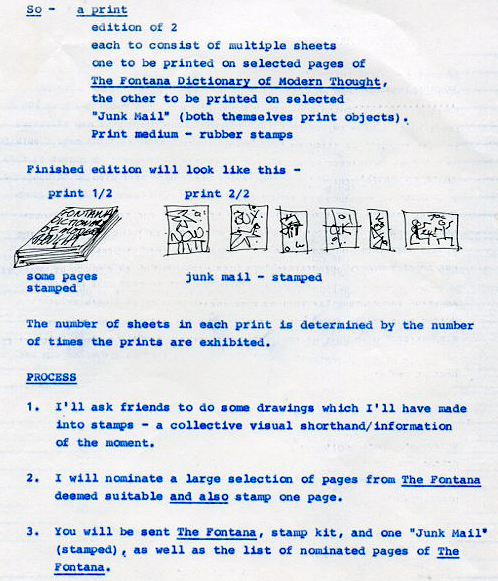 Extract of print proposal (1984) for Print Council of Australia Print As Object touring exhibition (1985-1987).