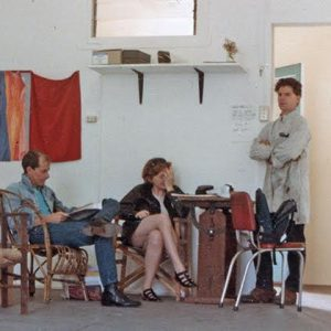 l-r Malcolm Enright, Barbara Campbell and Ted Riggs in Barbara's studio next to A Room, 1984. Photo: Brian Doherty