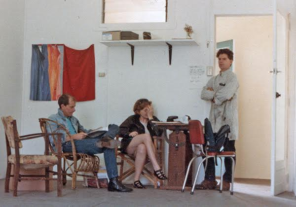 l-r Malcolm Enright, Barbara Campbell and Ted Riggs in Barbara's studio next to A Room, 1984. Photo: Brian Doherty, Artist Archives