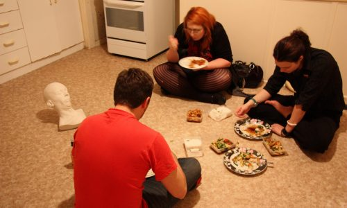 IMAGES DOCUMENTATION EXHIBITIONS FRIENDS 5 : Stephen, Louise and Erika dining with 'Flop (third version)' by Charles Robb 2010 (in preparation for group exhibition Lame Objects)  Photo:Liz Willing